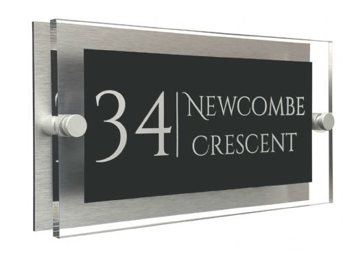 Rectangle Shape - Clear Acrylic House Sign - Anthracite Colour with White text in Font  1